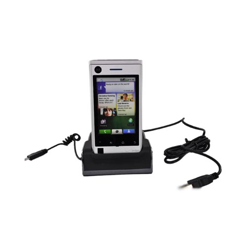 Motorola Devour A555 3 in 1 Cradle Desktop Sync n' Charge Phone/Battery Charger - Black