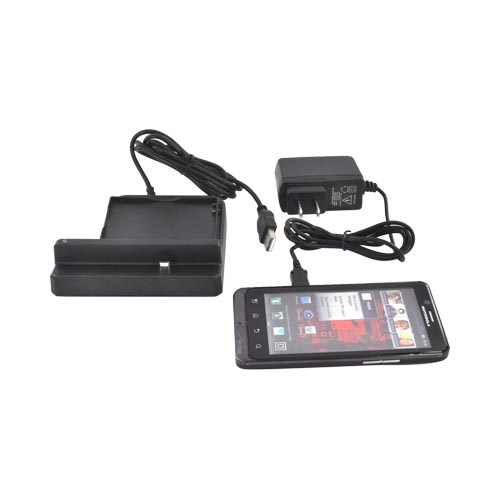 Motorola Droid Bionic XT875 3-in-1 Cradle Desktop Sync n'Charge Phone/ Battery Charger - Black