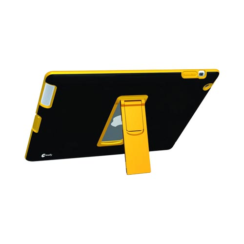 Original Macally Apple iPad 2/ New iPad Rubberized Hard Back Cover Case w/ Stand, DUALSTAND2 - Black/Yellow