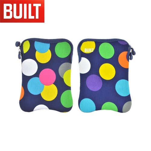 "Original BUILT Universal (7-8"" Tablets like Amazon Kindle Fire) Hourglass Design Neoprene Sleeve Case, E-ES8-SDT - Multi Colored Polka Dots on Navy Blue"