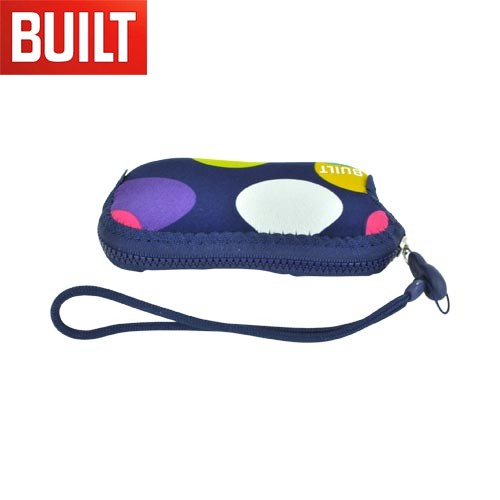 "Original BUILT Universal (Up to 4.5"" like iPhone 4, iPhone 4S) Neoprene Pouch Case w/ Wrist Strap, E-PZB20-SDT - Multi Colored Polka Dots on Navy Blue"