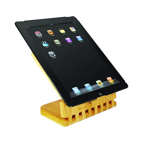 Original Macally Apple iPad 2nd Gen Hard Case w/ Bamboo Viewing Stand, ECOSTAND2 - Black/Wood