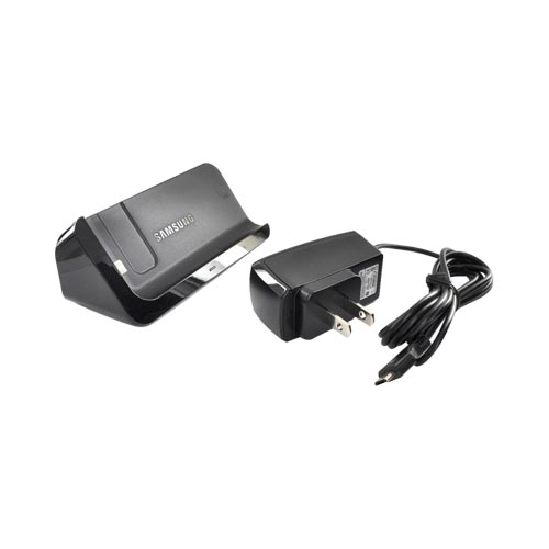 Original Samsung Vibrant T959 Desktop Charging Dock w/ Micro USB Wall Adapter, ECR-D979BEG - Black