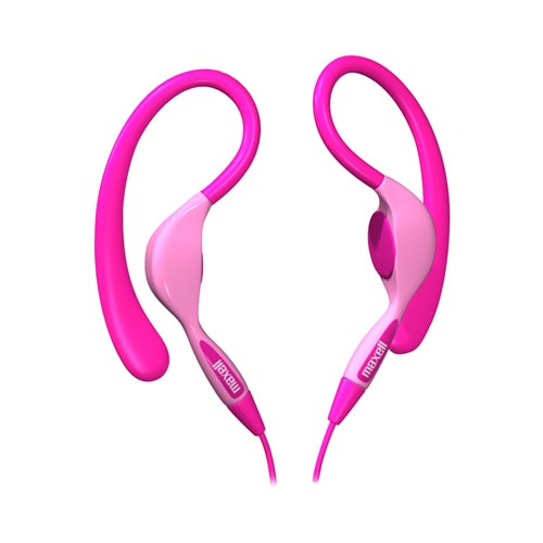 Original Maxell Universal Stereo Ear Hook Headset, EH-130P - Pink (3.5mm)