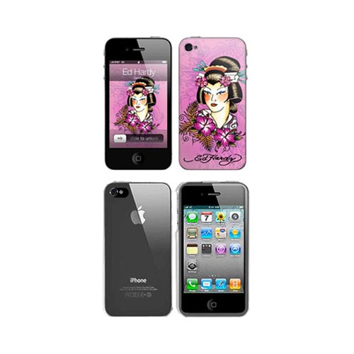 iPhone 4, iPhone 4S Music Skins Bundle Package w/ Ed Hardy Geisha on Pink & iPhone 4, iPhone 4S Clear Hard Case