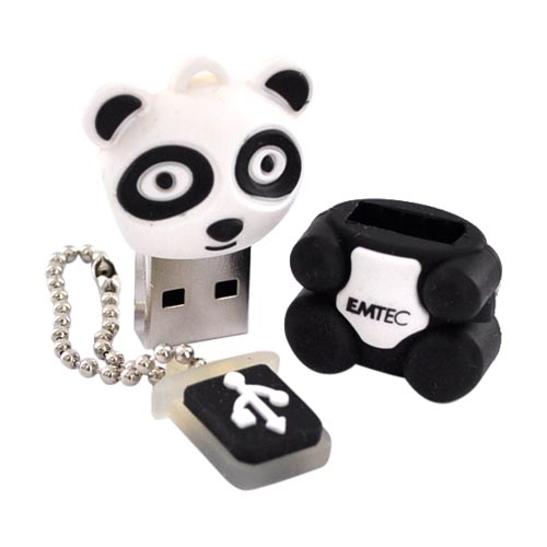Original EMTEC 4GB Flash Drive, EKMMD4GM310 - Black,White Panda