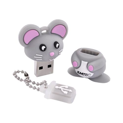 Original EMTEC 4GB Flash Drive, EKMMD4GM312 - Gray Mouse