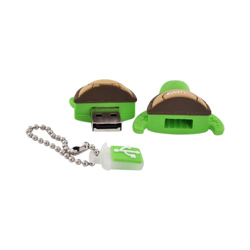 Original EMTEC 4GB Flash Drive, EKMMD4GM316 - Green Turtle