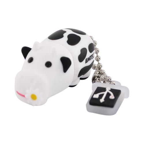 Original EMTEC 4GB Flash Drive, EKMMD4GM318 - Black,White Cow