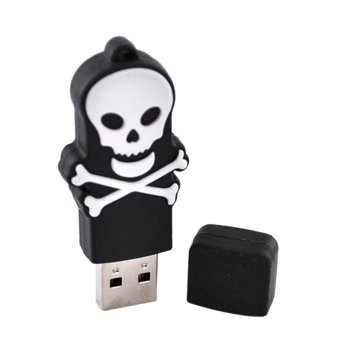 Original EMTEC 4GB Flash Drive, EKMMD4GSWBL - White Skull on Black