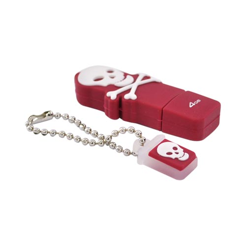 Original EMTEC 4GB Flash Drive, EKMMD4GSWRE - White Skull on Red
