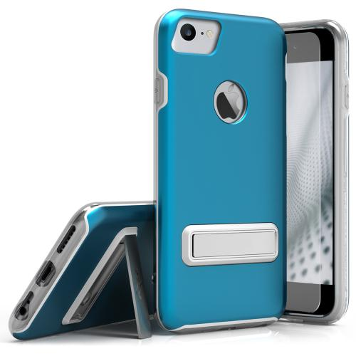 Apple iPhone 7 (4.7 inch) Case, ELITE Cover Slim & Protective Case w/ Built-in [MAGNETIC Kickstand] Shockproof Protection Lightweight [Metallic Hybrid] w/ Tempered Glass [Turquoise] - (ID: ELT-IPH7-BL)