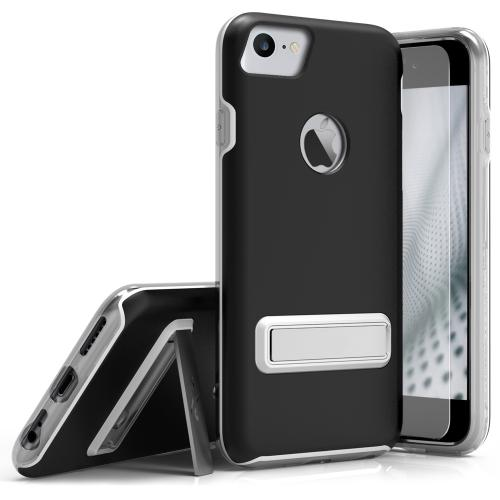 Apple iPhone 7 (4.7 inch) Case, ELITE Cover Slim & Protective Case w/ Built-in [MAGNETIC Kickstand] Shockproof Protection Lightweight [Metallic Hybrid] w/ Tempered Glass [Black] - (ID: ELT-IPH7-BLK)