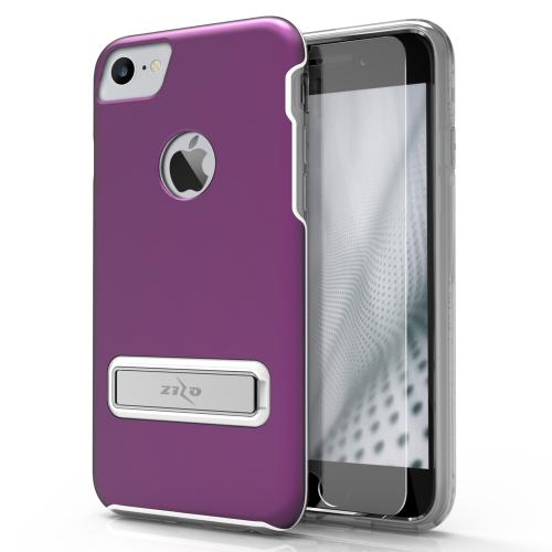 Apple iPhone 7 (4.7 inch) Case, ELITE Cover Slim & Protective Case w/ Built-in [MAGNETIC Kickstand] Shockproof Protection Lightweight [Metallic Hybrid] w/ Tempered Glass [Purple] - (ID: ELT-IPH7-PU)