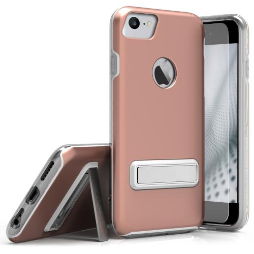 Apple iPhone 7 (4.7 inch) Case, ELITE Cover Slim & Protective Case w/ Built-in [MAGNETIC Kickstand] Shockproof Protection Lightweight [Metallic Hybrid] w/ Tempered Glass [Rose Gold] - (ID: ELT-IPH7-RGD)