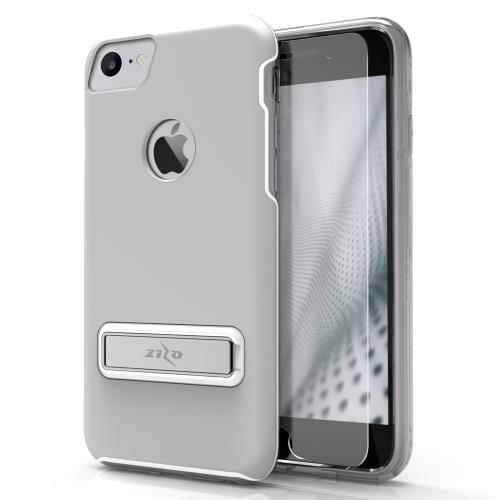 [Apple iPhone 7] (4.7 inch) Case, ELITE Cover Slim & Protective Case w/ Built-in [MAGNETIC Kickstand] Shockproof Protection Lightweight [Metallic Hybrid] w/ Tempered Glass [Silver]