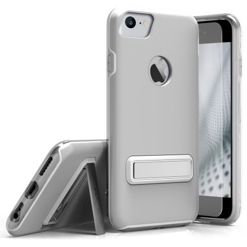 Apple iPhone 7 (4.7 inch) Case, ELITE Cover Slim & Protective Case w/ Built-in [MAGNETIC Kickstand] Shockproof Protection Lightweight [Metallic Hybrid] w/ Tempered Glass [Silver] - (ID: ELT-IPH7-SL)