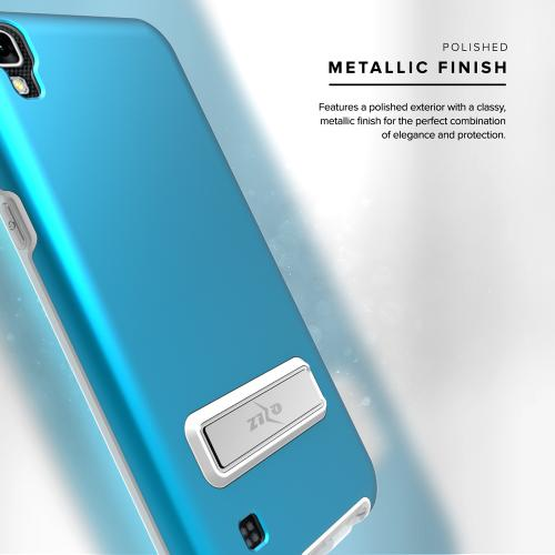 LG X Power Case, ELITE Cover Slim & Protective Case w/ Built-in [MAGNETIC Kickstand] Shockproof Protection Lightweight [Metallic Hybrid] w/ Tempered Glass [Turquoise] - (ID: ELT-LGK6P-BL)