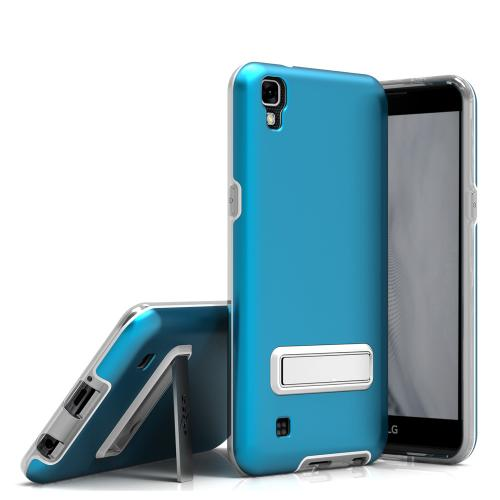 LG X Power Case, ELITE Cover Slim & Protective Case w/ Built-in [MAGNETIC Kickstand] Shockproof Protection Lightweight [Metallic Hybrid] w/ Tempered Glass [Turquoise]