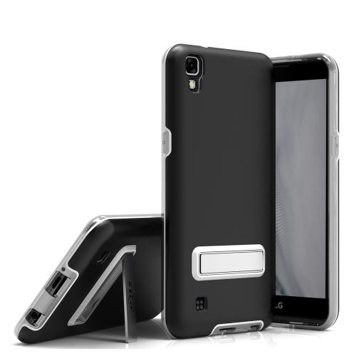 LG X Power Case, ELITE Cover Slim & Protective Case w/ Built-in [MAGNETIC Kickstand] Shockproof Protection Lightweight [Metallic Hybrid] w/ Tempered Glass [Black] - (ID: ELT-LGK6P-BLK)