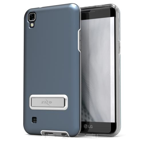 LG X Power Case, ELITE Cover Slim & Protective Case w/ Built-in [MAGNETIC Kickstand] Shockproof Protection Lightweight [Metallic Hybrid] w/ Tempered Glass [Dark Blue] - (ID: ELT-LGK6P-DBL)