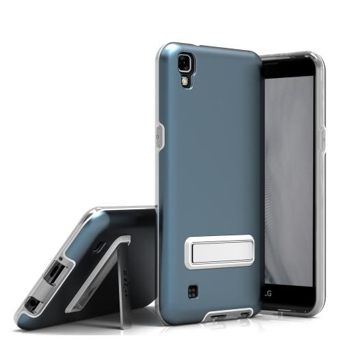 [LG X Power] Case, ELITE Cover Slim & Protective Case w/ Built-in [MAGNETIC Kickstand] Shockproof Protection Lightweight [Metallic Hybrid] w/ Tempered Glass [Dark Blue]