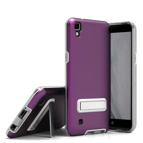 LG X Power Case, ELITE Cover Slim & Protective Case w/ Built-in [MAGNETIC Kickstand] Shockproof Protection Lightweight [Metallic Hybrid] w/ Tempered Glass [Purple]