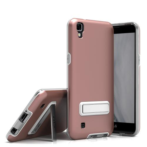 LG X Power Case, ELITE Cover Slim & Protective Case w/ Built-in [MAGNETIC Kickstand] Shockproof Protection Lightweight [Metallic Hybrid] w/ Tempered Glass [Rose Gold] - (ID: ELT-LGK6P-RGD)