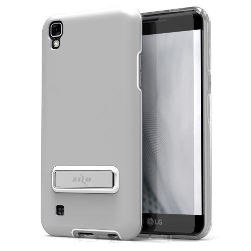LG X Power Case, ELITE Cover Slim & Protective Case w/ Built-in [MAGNETIC Kickstand] Shockproof Protection Lightweight [Metallic Hybrid] w/ Tempered Glass [Silver] - (ID: ELT-LGK6P-SL)