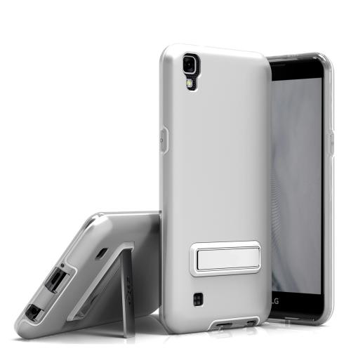 [LG X Power] Case, ELITE Cover Slim & Protective Case w/ Built-in [MAGNETIC Kickstand] Shockproof Protection Lightweight [Metallic Hybrid] w/ Tempered Glass [Silver]