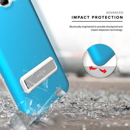 Samsung Galaxy On5 Case, ELITE Cover Slim & Protective Case w/ Built-in [MAGNETIC Kickstand] Shockproof Protection Lightweight [Metallic Hybrid] w/ Tempered Glass [Turquoise] - (ID: ELT-SAMG550-BL)