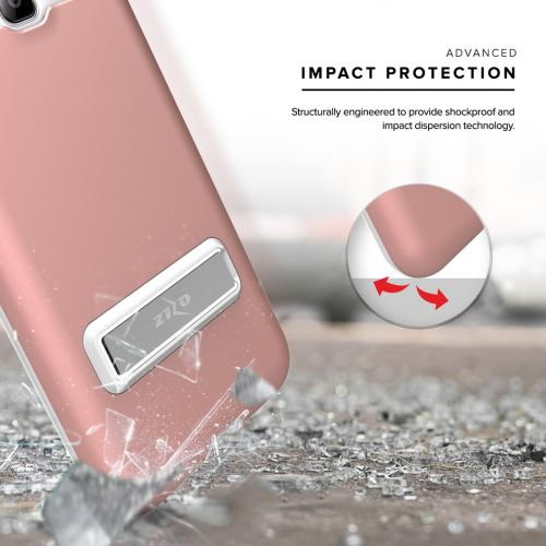 Samsung Galaxy J3/ Galaxy Amp Prime Case, ELITE Cover Slim & Protective Case w/ Built-in [MAGNETIC Kickstand] Shockproof Protection Lightweight [Metallic Hybrid] w/ Tempered Glass [Rose Gold] - (ID: ELT-SAMGJ3-RGD)