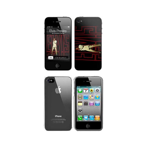 iPhone 4, iPhone 4S Music Skins Bundle Package w/ Elvis Presley 1968 Comeback Special & iPhone 4, iPhone 4S Clear Hard Case