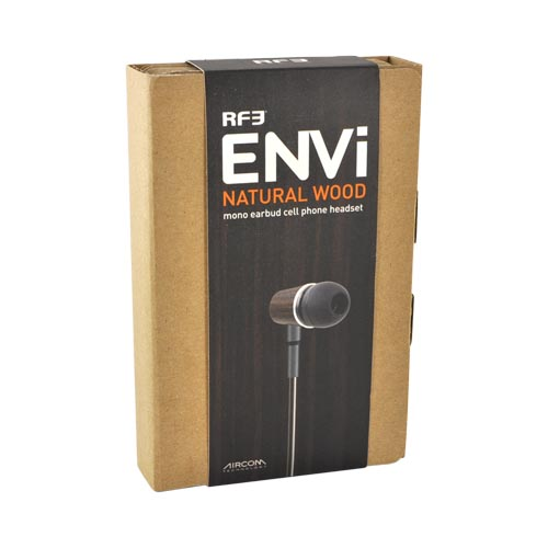Original RF3 ENVi Eco-Friendly Mono Earbud Headset 3.5mm ENVI-125 - Black/Natural Wood