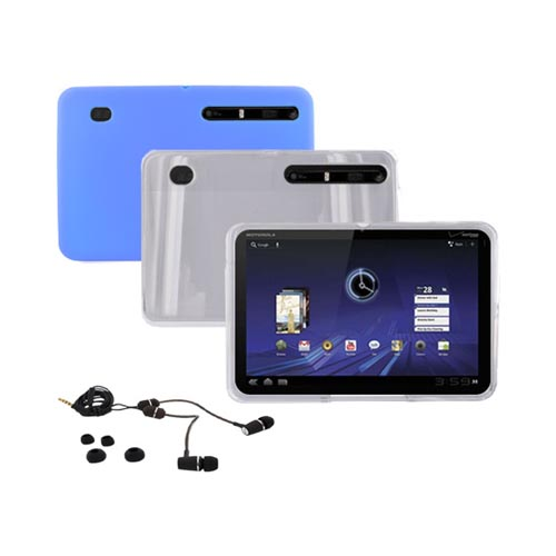 Motorola Xoom Essential Bundle Package w/ Clear Hard Case, Blue Skin Case and RF3 Envi-125 Headset