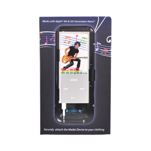 Original E-POC-IT Apple iPod Nano 4th & 5th Gen Dock and Armband Case w/ Magnetic Clip, EPIV1-BK - Black