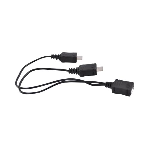 Original Samsung Micro USB Y-Adapter Charging Cable/Splitter, ET-AUDM6BEBXAR - Black