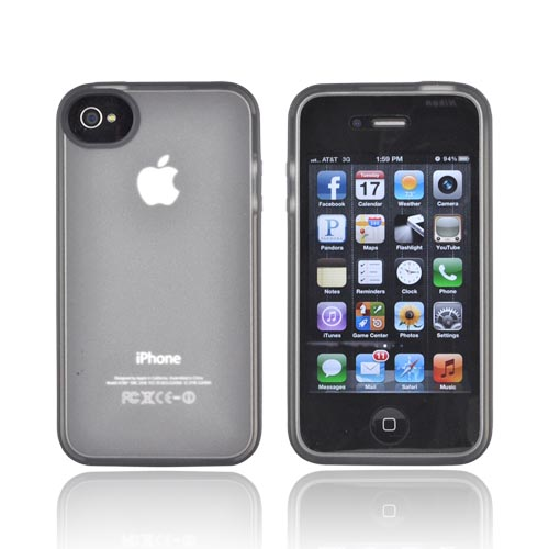 Original Belkin AT&T/ Verizon Apple iPhone 4, iPhone 4S Crystal Silicone Case, F8Z813EBC04 - Black/ Frost White