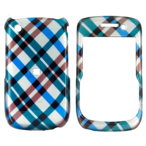 Blackberry Curve 3G 9330, 9300, 8520, 8530 Hard Case - Checkered Diamonds of Blue, Green, Brown, Silver
