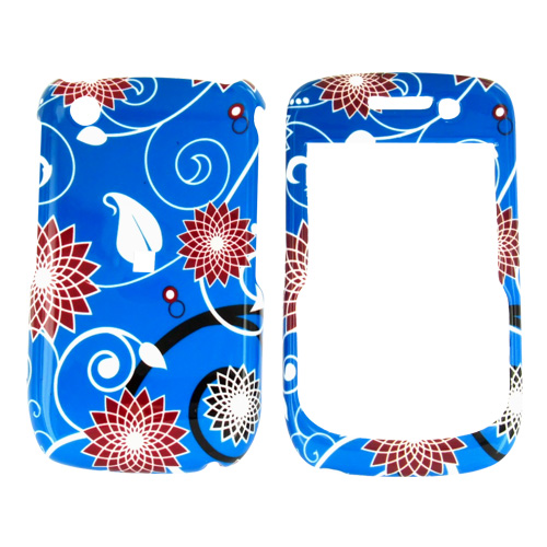 Blackberry Curve 3G 9330, 9300, 8520, 8530 Hard Case - Floral on Blue