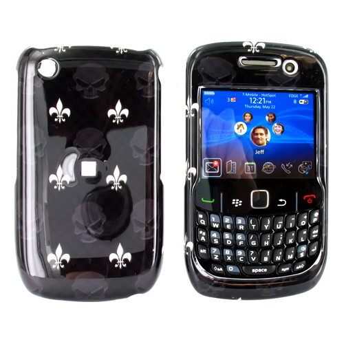 Blackberry Curve 3G 9330, 9300, 8520, 8530 Hard Case - French Flower & Skulls on Black