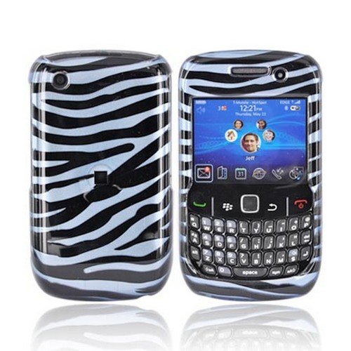 BlackBerry Curve 3G 9330, 9300, 8520, 8530 Hard Case - Teal Blue/Black Zebra