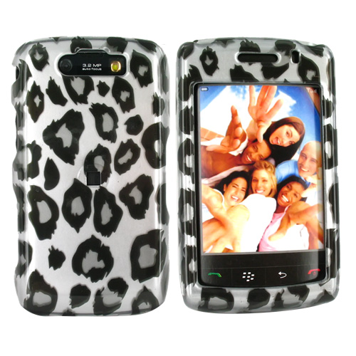 Blackberry Storm 2 9550 Hard Case - Black Leopard Print on Silver