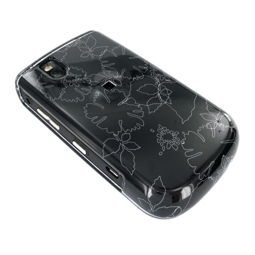 Blackberry Bold 9650 & Tour 9630 Hard Case - White Summer Flower Outlines on Black