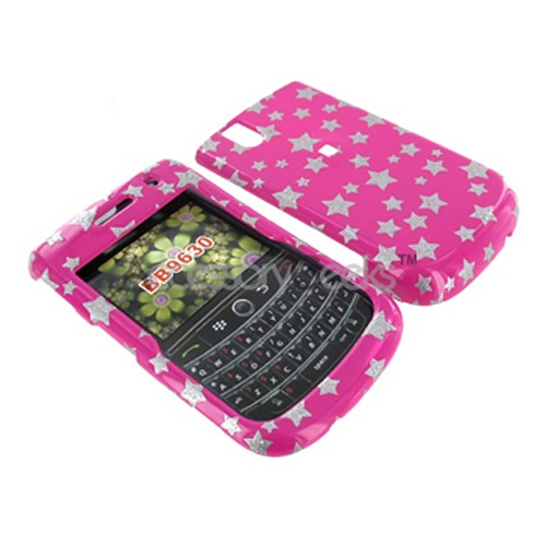 Blackberry Bold 9650 & Tour 9630 Hard Case - Silver Stars on Pink