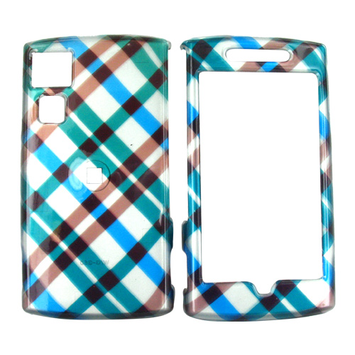 Garmin Nuvifone G60 Hard Case - Checkered Pattern of Blue, Brown on Silver
