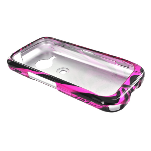 HTC Droid Eris S6200 Hard Case - Black Zebra Face Outline on Pink