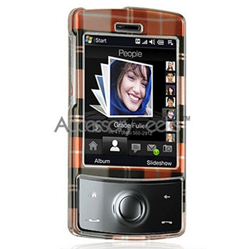 HTC Touch Diamond Hard Case - Plaid Pattern of Orange, Brown, Dark Brown