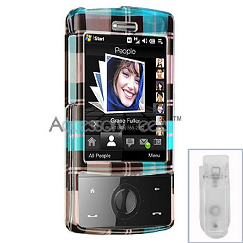HTC Touch Diamond Hard Case - Plaid Pattern of Blue, Brown, Purple (CDMA)