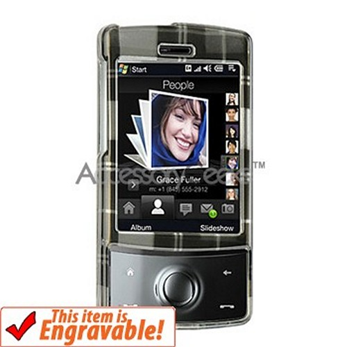 HTC Touch Diamond Hard Case - Plaid Pattern of Dark Grey, Silver, Light Grey